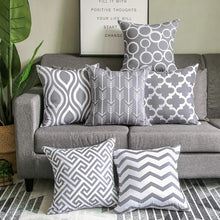 Load image into Gallery viewer, SWHF Velvet Printed Cushion Cover, Set of 6:Grey - SWHF