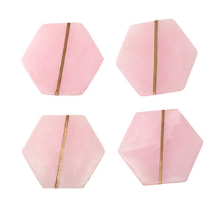 SWHF Handmade Marble Tea/Coffee/Cocktail Coaster Set of 4 (Pink)