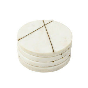 SWHF Handmade Marble Tea/Coffee/Cocktail Coaster Set of 4 (White)
