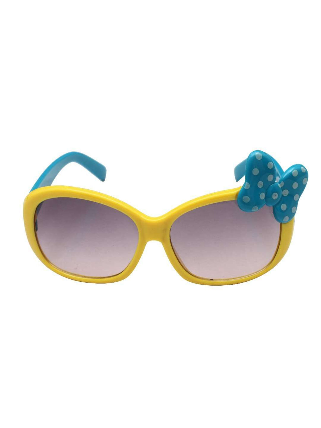 Stol'n Kids Yellow and Blue Bow Applique Rectangular Sunglasses - SWHF