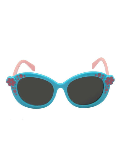 Stol'n Kids Blue and Pink Flower Oval Sunglasses - SWHF