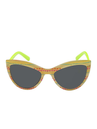 Stol'n Kids Yellow and Green Printed Cat Eye Sunglasses - SWHF