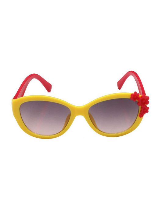 Stol'n Kids Yellow and Red Flower Applique Cat Eye Sunglasses - SWHF