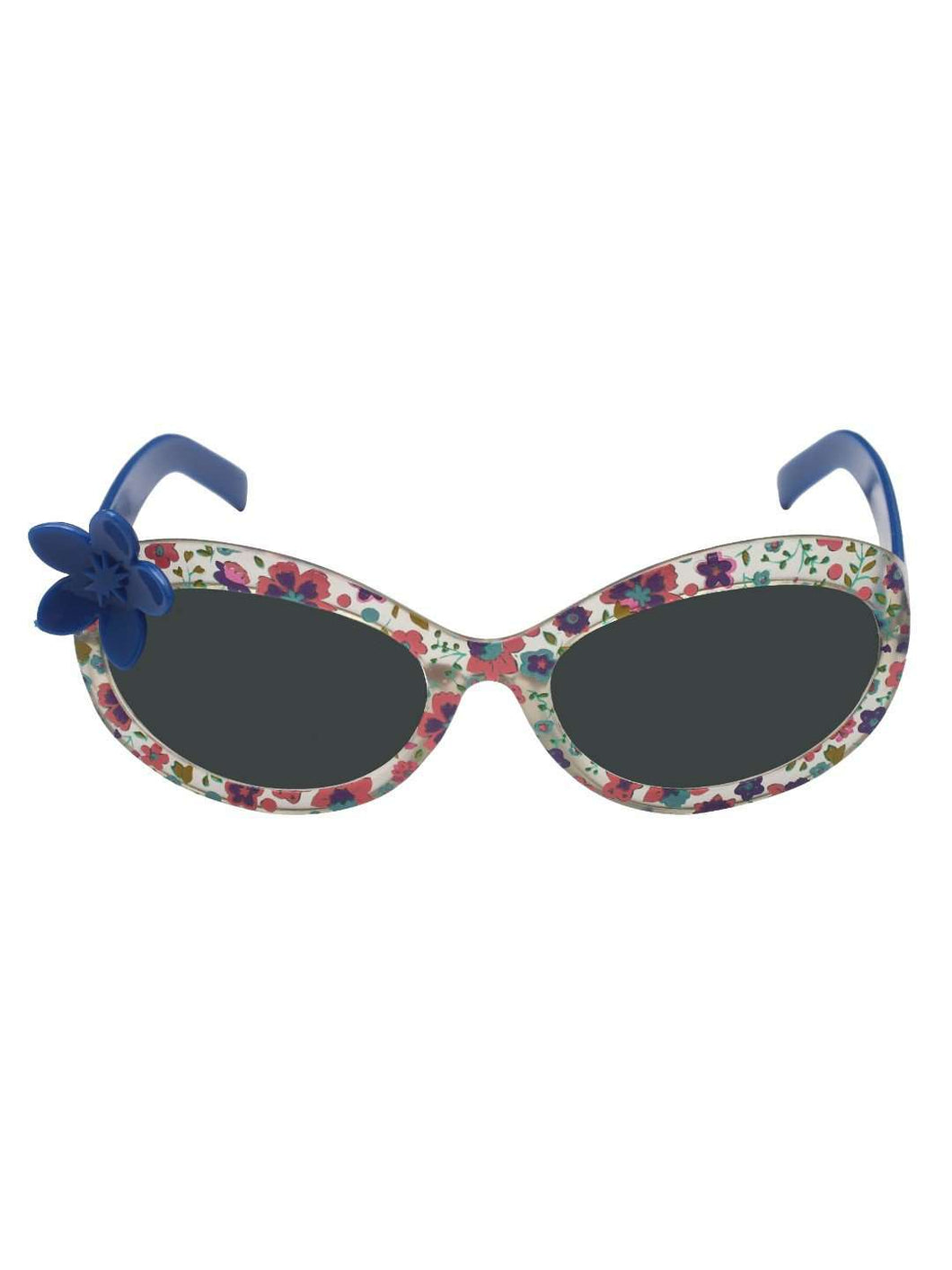 Stol'n Kids Blue Printed Flower Applique Oval Sunglasses - SWHF