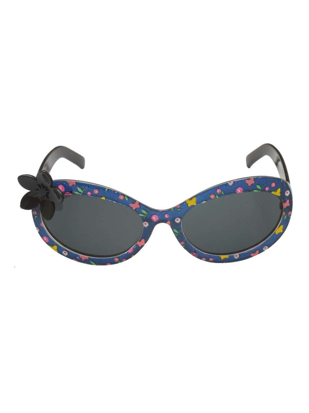 Stol'n Kids Black Printed Flower Applique Oval Sunglasses - SWHF