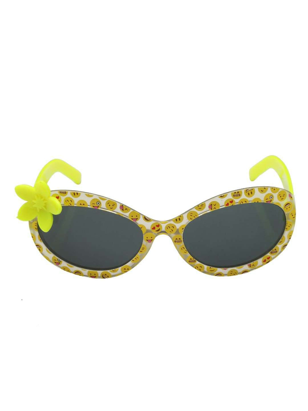 Stol'n Kids Yellow Printed Flower Applique Oval Sunglasses - SWHF