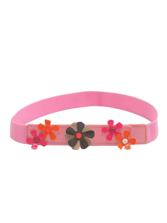 Stol'n Kids Flower Applique Light Pink Stretch Belt - SWHF