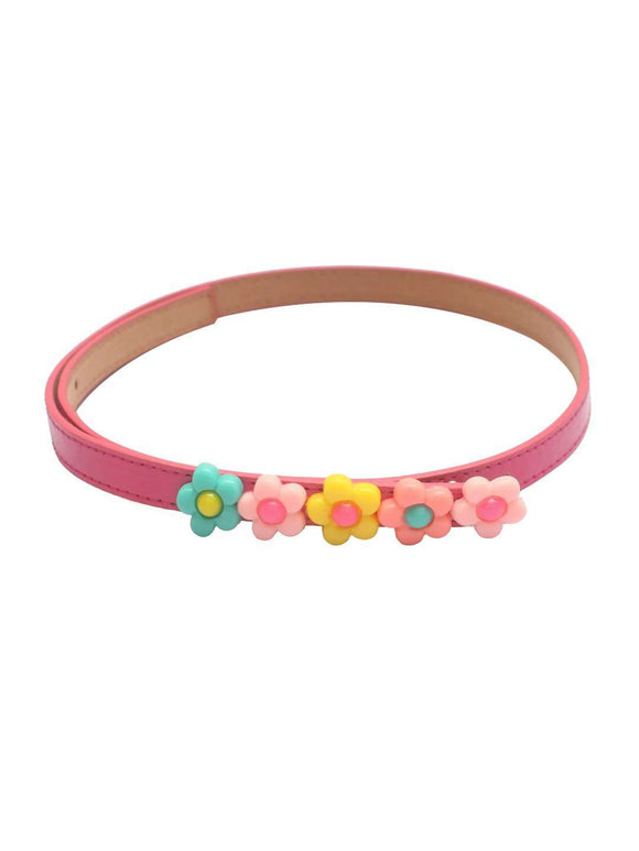 Stol'n Kids Flower Applique Dark Pink Belt - SWHF