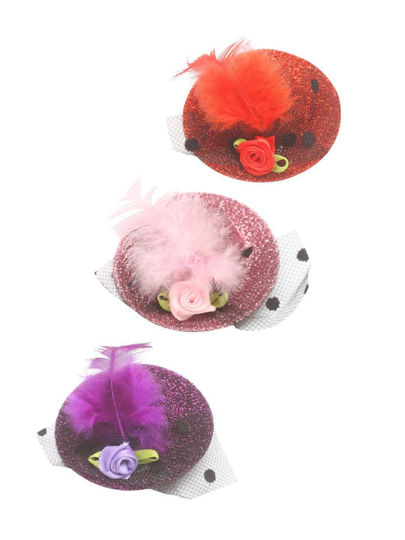 Stol'n Set of Red, Pink and Purple Glitter Hat Clip :Red, Pink, Purple