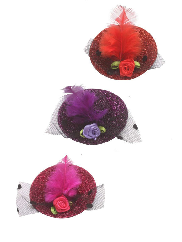 Stol'n Set of Red, Purple and Pink Glitter Hat Clip :Red, Purple, Pink