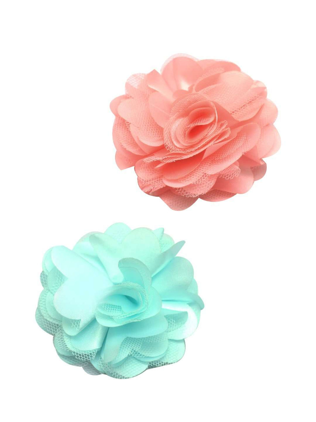 Stol'n Set of Teal Green and Peach Flower Clip :Teal Green and Peach - SWHF