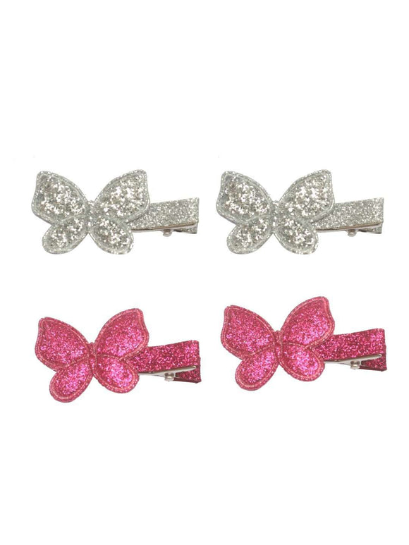 Stol'n Set of Dark Pink and Silver Shiny Butterfly Clip :Dark Pink and Silver