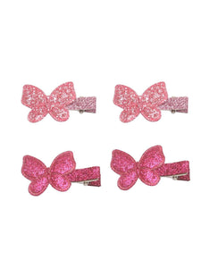 Stol'n Set of Dark Pink and Light Pink Shiny Butterfly Clip :Dark Pink and Light Pink - SWHF