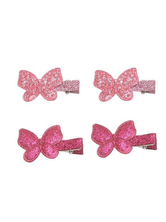 Stol'n Set of Dark Pink and Light Pink Shiny Butterfly Clip :Dark Pink and Light Pink