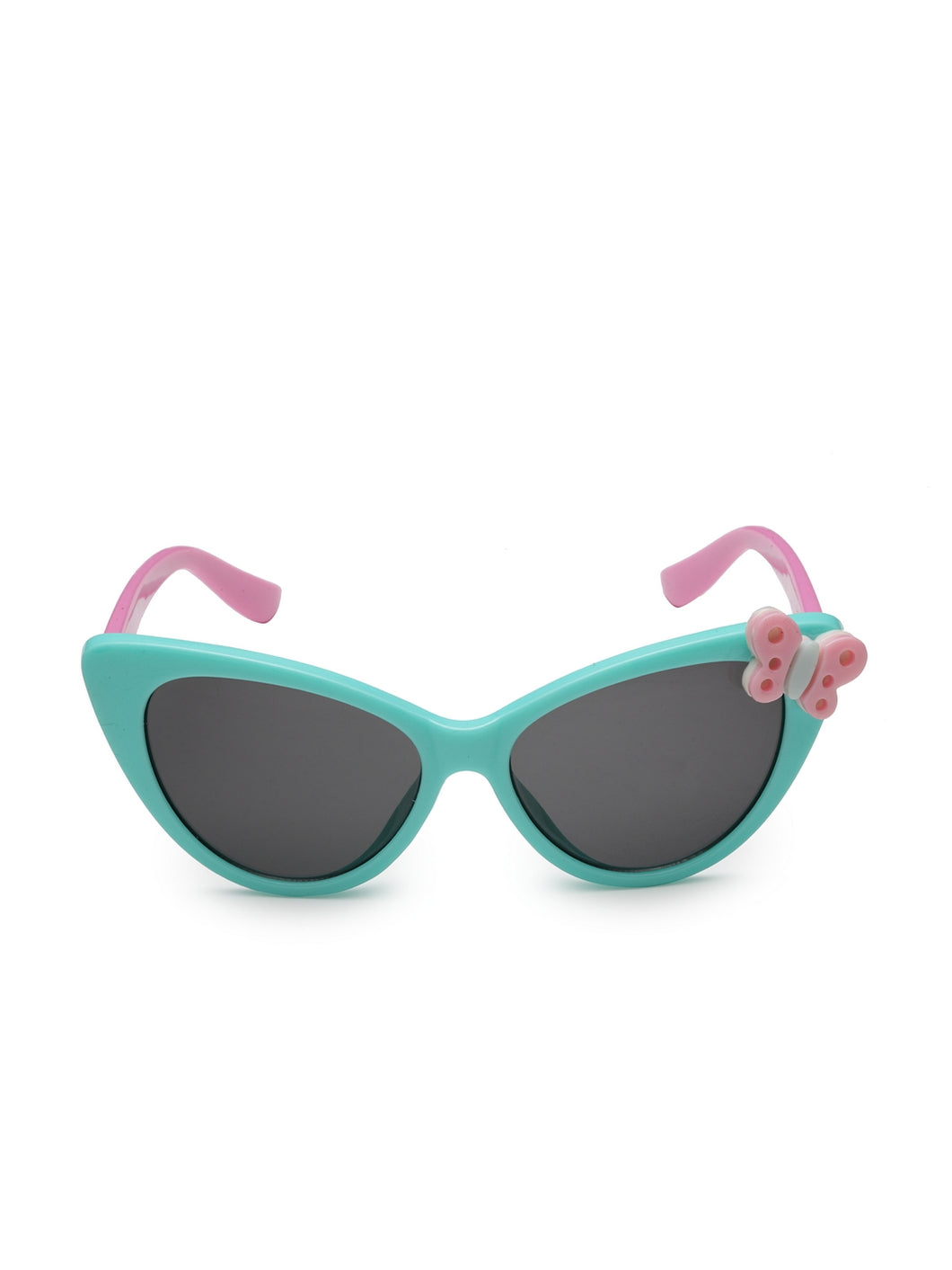 Stol'n Kids Yellow and Blue Bow Applique Rectangular Sunglasses:Yellow and Blue Orange and Yellow