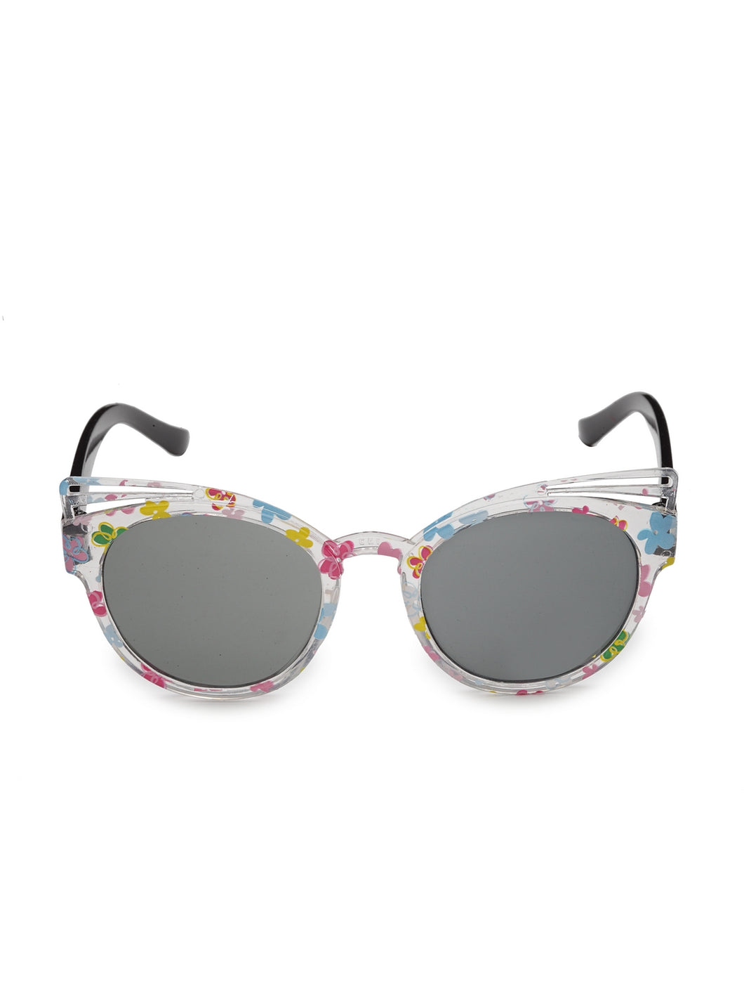 Stol'n Kids Yellow and Blue Bow Applique Rectangular Sunglasses:Yellow and Blue White
