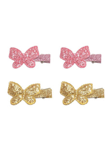 Stol'n Set of Light Pink and Gold Shiny Butterfly Clip :Light Pink and Gold - SWHF