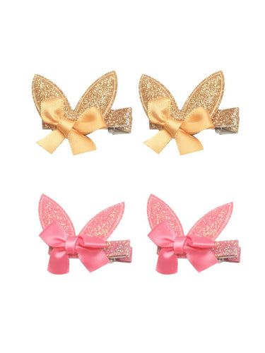 Stol'n Set of Gold and Dark Pink Shiny Bunny Clip :Gold and Dark Pink - SWHF