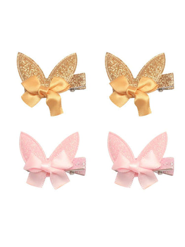 Stol'n Set of Gold and Light Pink Shiny Bunny Clip :Gold and Light Pink - SWHF