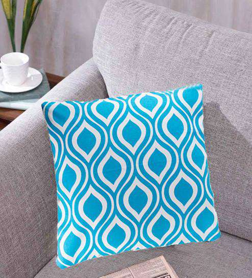 SWHF Cotton Cushion Cover Flake Blue, Set of 2 - SWHF