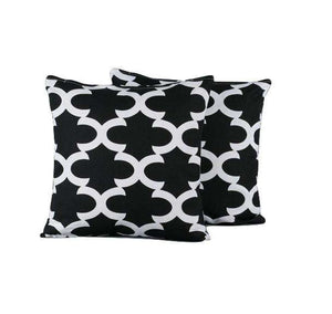 SWHF Cotton Cushion Cover  Morocco Black, Set of 2