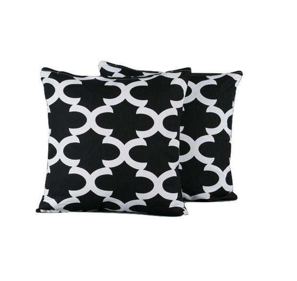 SWHF Cotton Cushion Cover  Morocco Black, Set of 2 - SWHF