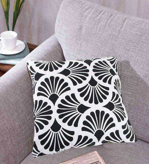 SWHF Cotton Cushion Cover Rays Black, Set of 2 - SWHF