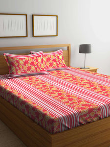 SWHF Premium Cotton Printed Double Bed Sheet with 2 Pillow Covers: Red & White - SWHF