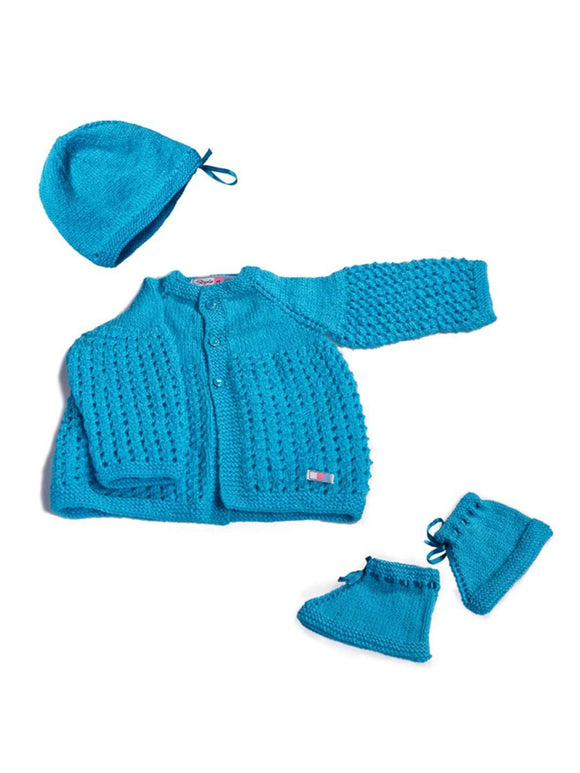 SnU Hand Knitted Baby Sweater, Cap & Booties Set : Sky Blue - SWHF