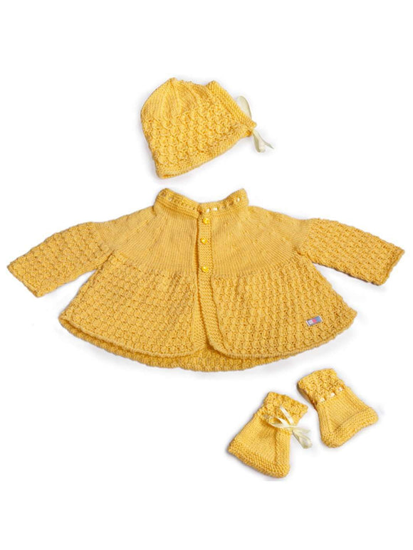 SnU Hand Knitted Baby Sweater, Cap & Booties Set : yellow - SWHF