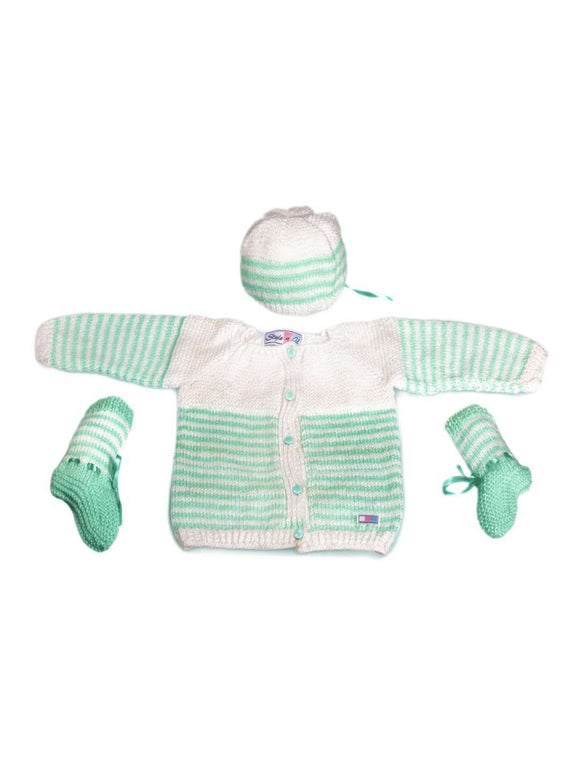 SnU Hand Knitted Thin Stripes Baby Sweater, Cap & Booties Set- Green and White - SWHF