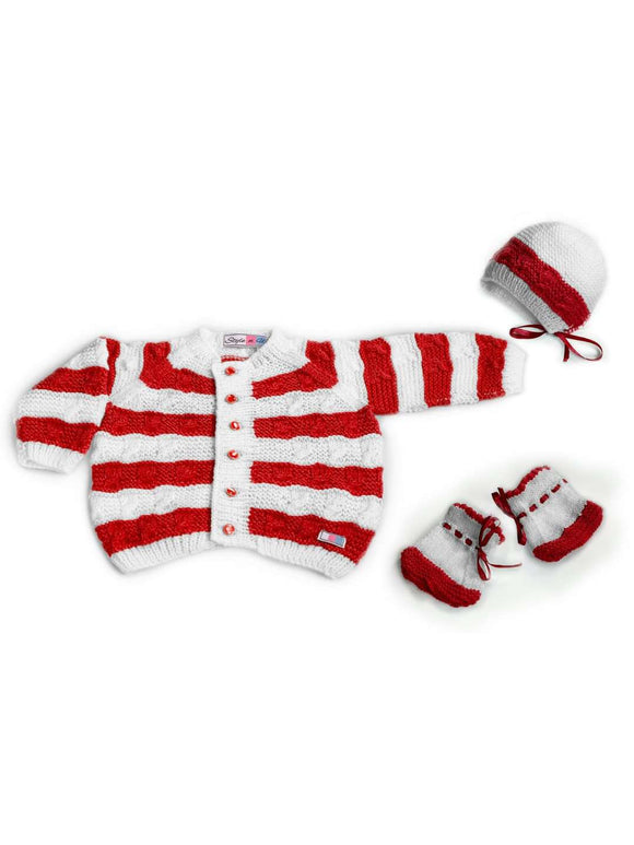 SnU Hand Knitted Cabled Stripes Baby Sweater, Cap & Booties Set- Red and White - SWHF