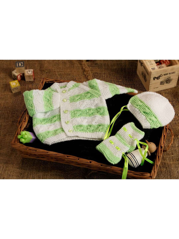 SnU Hand Knitted Cabled Stripes Baby Sweater, Cap & Booties Set- Green and White - SWHF