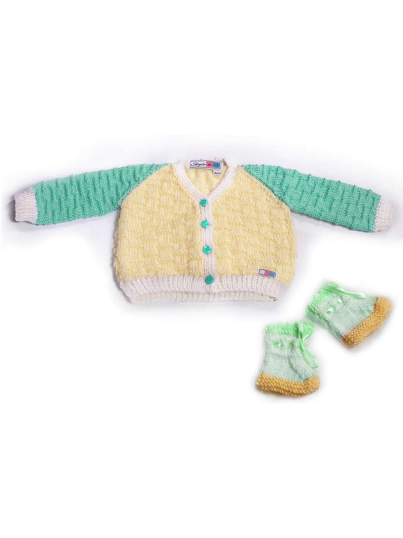 SnU Hand Knitted Multi Color Baby Sweater & Cap Set- Green, Cream & White - SWHF