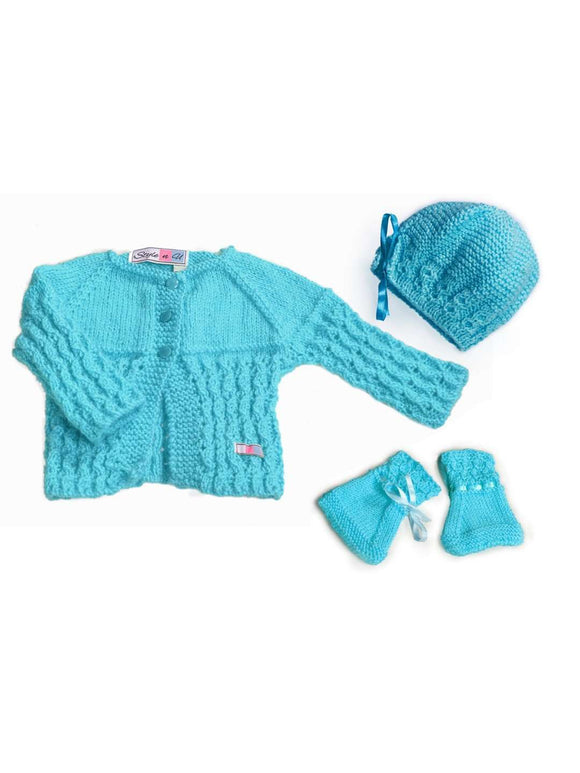 SnU Hand Knitted Waterfall Pattern Baby Sweater, Cap & Booties Set - Blue - SWHF