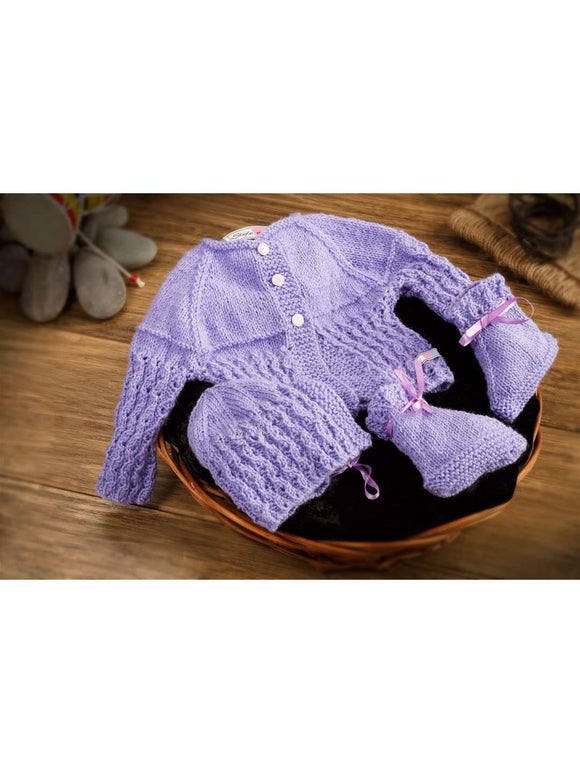 SnU Hand Knitted Waterfall Pattern Baby Sweater, Cap & Booties Set - Purple - SWHF