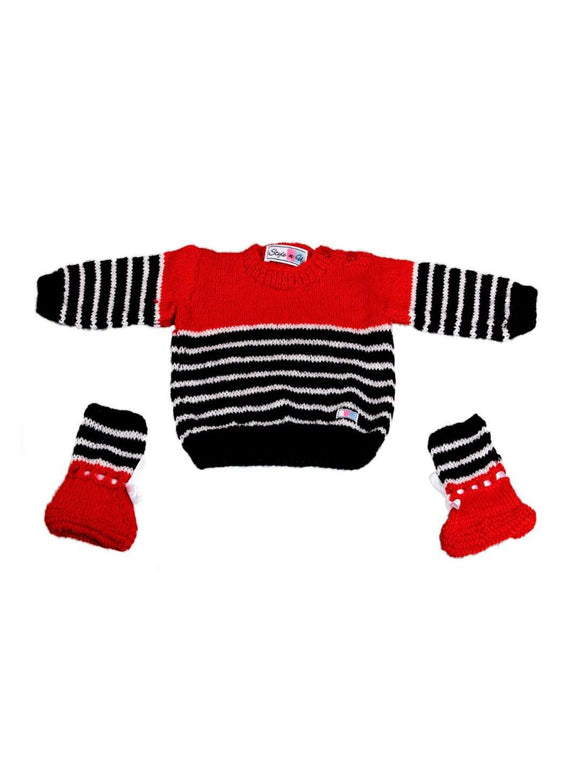 SnU Hand Knitted Love the Stripes Pattern Baby Sweater & Booties Set- Red - SWHF