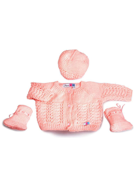 SnU Hand Knitted Feather & Fan Pattern Baby Sweater, Cap & Booties Set- Pink - SWHF