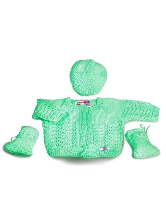 SnU Hand Knitted Feather & Fan Pattern Baby Sweater, Cap & Booties Set- Green - SWHF