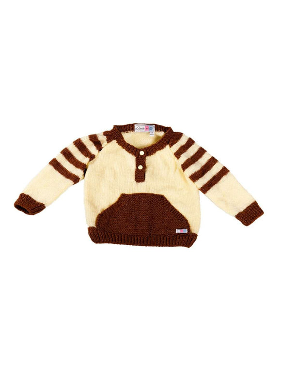 SnU Hand Knitted Pocket Fun Baby Sweater- Brown & Cream - SWHF