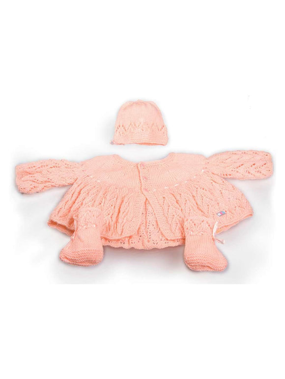 SnU Hand Knitted Fern Lace Pattern Baby Sweater, Cap & Booties Set- Pink - SWHF