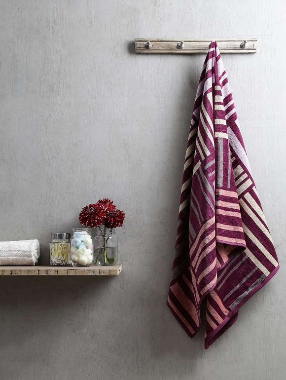 Turkish Bath Broken Check Bath Towel:Purple - SWHF