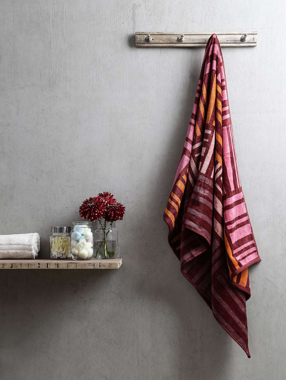 Turkish Bath Broken Check Bath Towel:Brown - SWHF