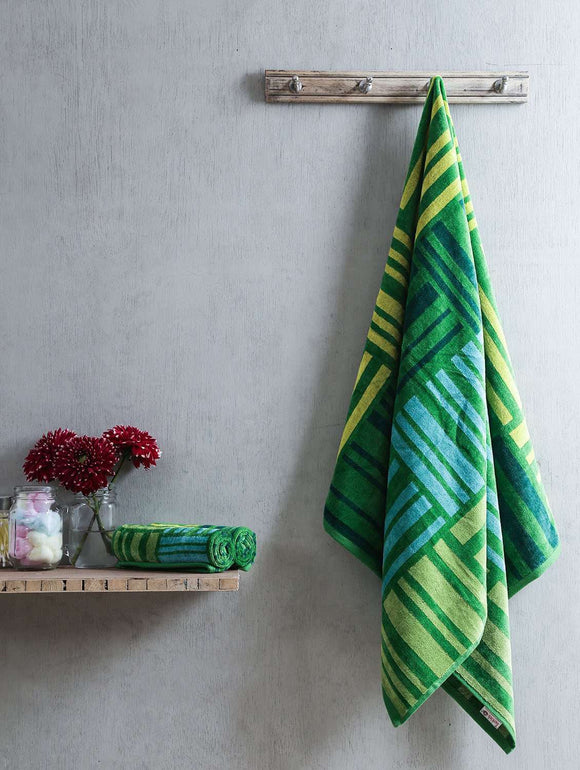 Turkish Bath Broken Check Bath and Hand Towel Set:Green - SWHF
