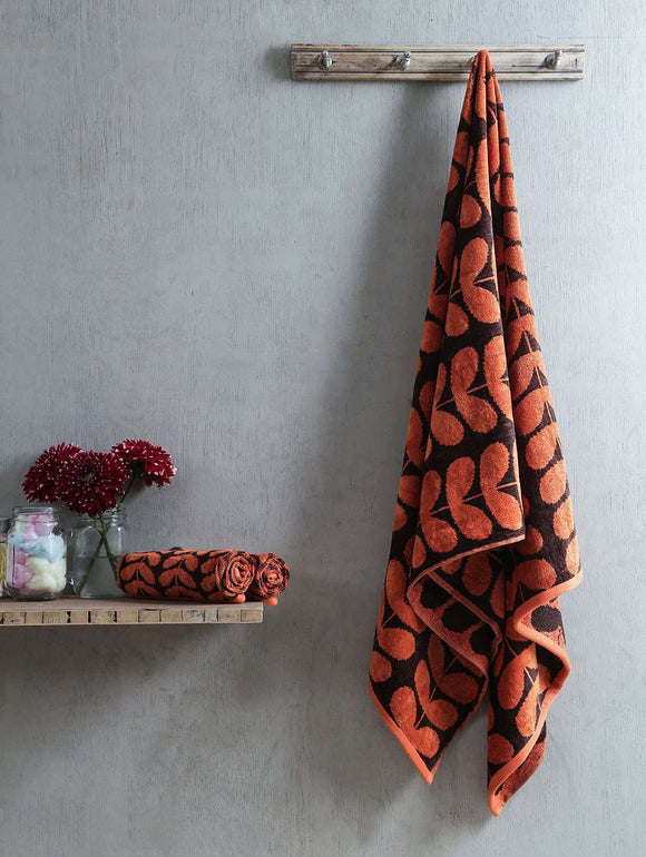 Turkish Bath Harmony Bath and Hand Towel Set:Orange - SWHF