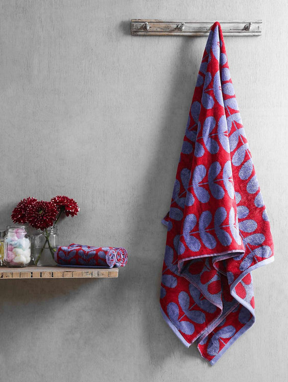 Turkish Bath Harmony Bath and Hand Towel Set:Red - SWHF