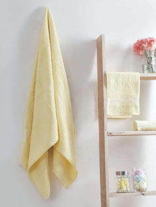 Turkish Bath Carolina Bath and Hand Towel Set:Yellow - SWHF