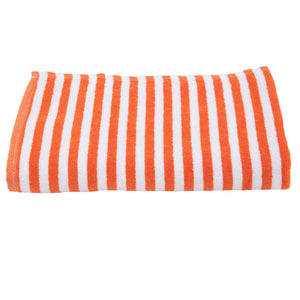 Turkish Bath Premium Cotton Cabana Shering Stripe Bath and Pool Towel : Orange - SWHF