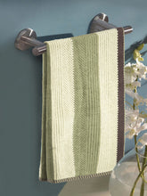Load image into Gallery viewer, Turkish Bath Cotton Stripe 500 GSM Solid Bath Towel (Green) - SWHF