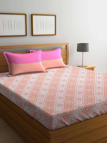 Trident Comfort Living 120 TC Cotton Double Bedsheet with 2 Pillow Covers :  Ila Red - SWHF